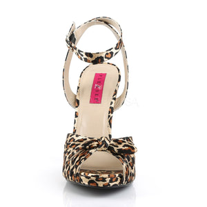 front of cheetah platform ankle strap sandal with bow 5-inch heel Eve-01