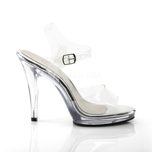 side of clear sandal shoes with clear 4.5-inch spike heels Flair-408