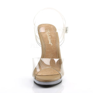 front of clear and tan sandal shoes with clear 4.5-inch heels Flair-408