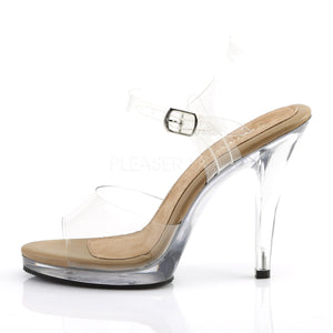 side of front of clear and tan sandal shoes with clear 4.5-inch heels Flair-408