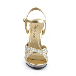 front of criss-cross gold glitter sandals with 4.5-inch heels Flair-419G