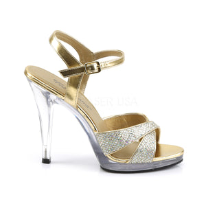 side of criss-cross gold glitter sandals with 4.5-inch heels Flair-419G