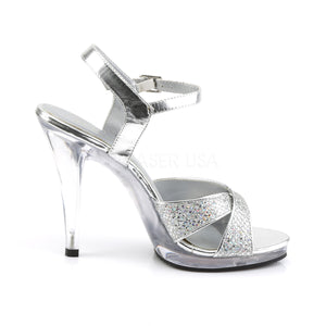 side of criss-cross silver glitter sandals with 4.5-inch heels Flair-419G