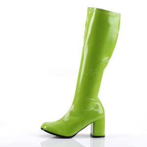 side of green knee high GoGo boots 3-inch heel sizes 5-16