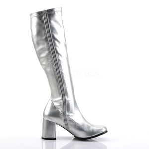 zipper on silver knee high GoGo boots 3-inch heel sizes 5-16
