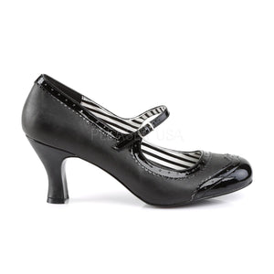 side of black Spectator Mary Jane pump shoes with 3-inch heels Jenna-06