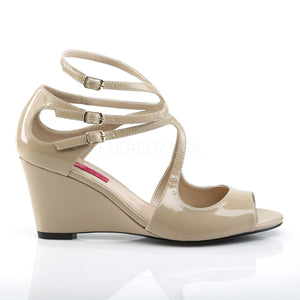 side of taupe strappy wedge sandals with 3-inch heel Kimberly-04