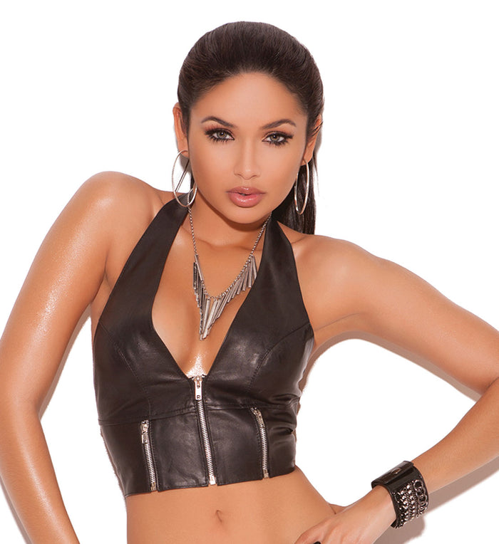 Leather Zip Front Halter Top