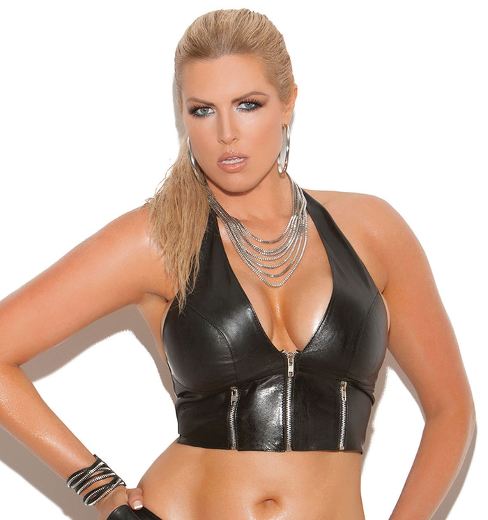 Plus Size Leather Zip Front Halter Top