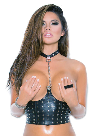 leather cupless chain top with studs L4267