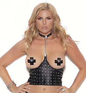 plus size leather cupless chain top with studs L4267X