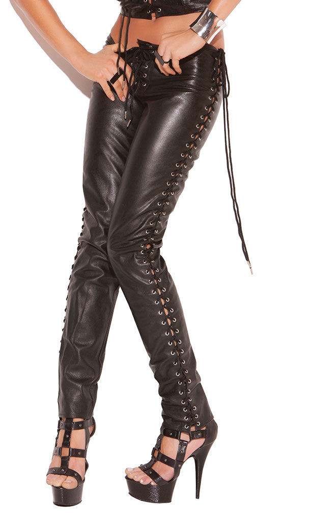 Leather Pants with Lace-Up Sides