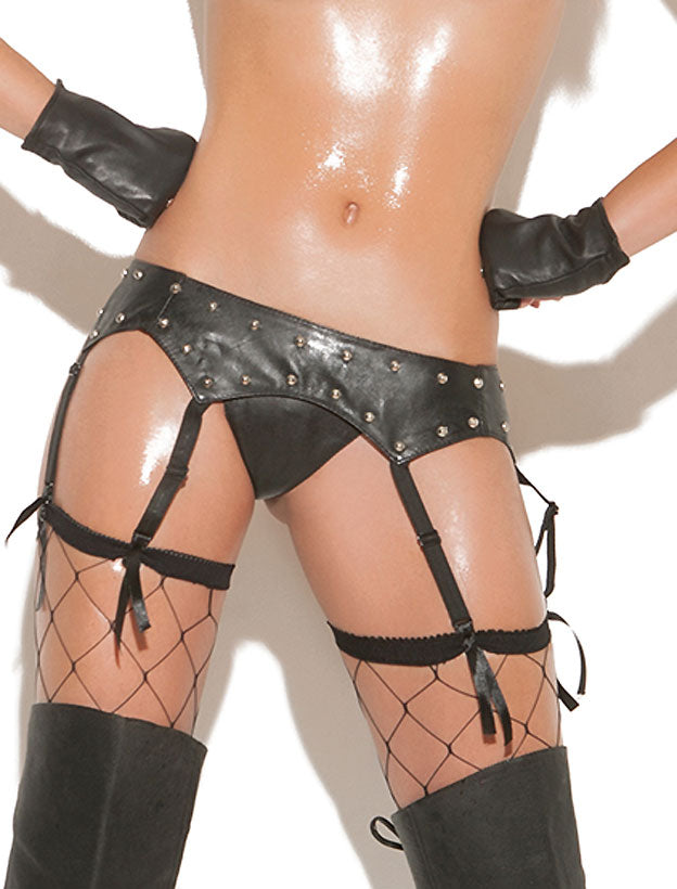 Studded Leather Garter Belt