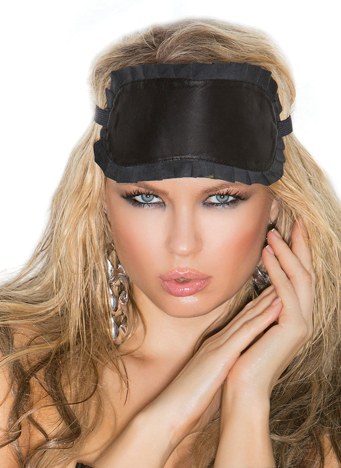 Leather Blindfold with Ruffle Trim