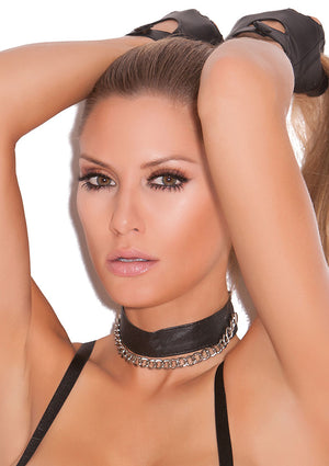 Leather choker with one chain detail L9797