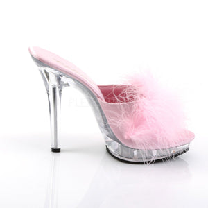 side view of  pink Feather slipper shoe with clear 5-inch heel Lip-101-8