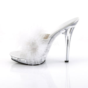 side view of  white Feather slipper shoe with clear 5-inch heel Lip-101-8