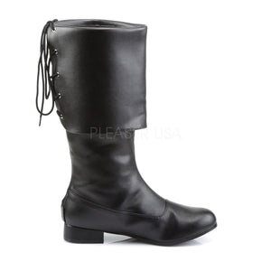 side view of front of Men's black pirate boot with large cuff Pirate-100
