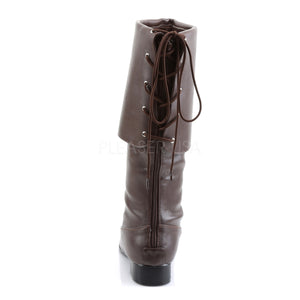 back of Men's brown pirate boot with large cuff Pirate-100