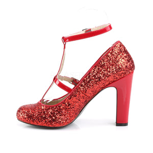 side of round toe red glitter pump shoes with 4-inch heels Queen-01