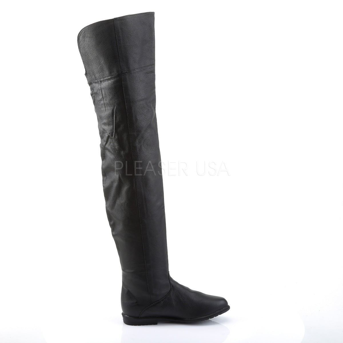 Leather Thigh High Boots with 3/4-inch