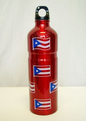 red aluminum Puerto Rico water bottle 4015