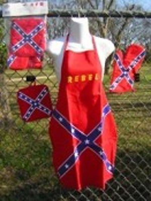 Rebel Confederate flag bar-b-que 3-pc set Apron, Oven Mit, Pot Holder 710302