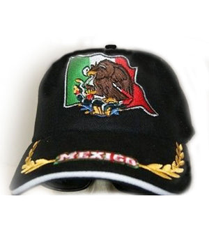 Black colored unisex Mexican flag cap 81568