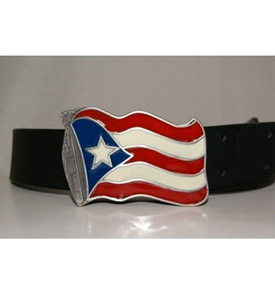 Puerto Rico Waving Flag Belt Buckle