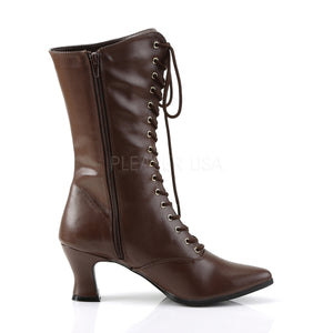side of brown lace-up ankle boots 2.75-inch heels Victorian-120