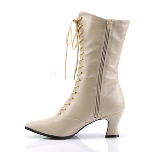zipper on cream lace-up ankle boots 2.75-inch heels Victorian-120