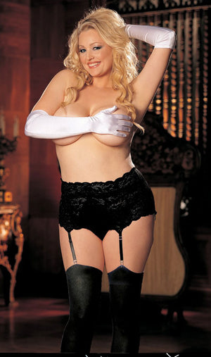 black plus size stretch lace garter belt X20146
