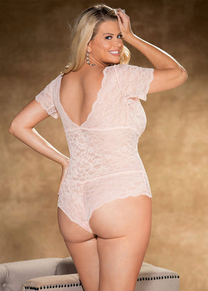 back of Plus size floral patterned stretch lace teddy X25774