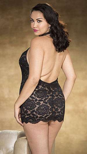 back of plus size black stretch lace chemise X25776