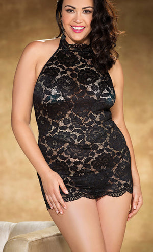 plus size black stretch lace chemise X25776
