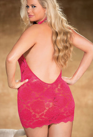 back of plus size coral pink stretch lace chemise X25776