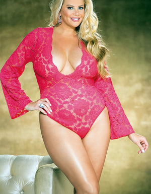 plus size coral pink stretch lace bodysuit teddy x25777