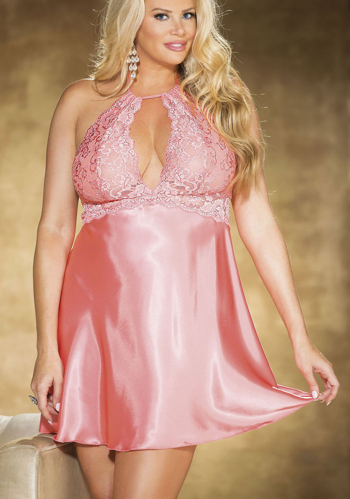 Plus Size Lace and Charmeuse Chemise