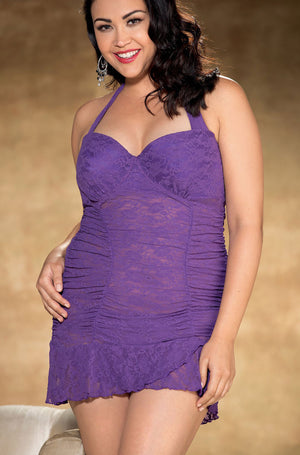 plus size purple stretch lace chemise X25786