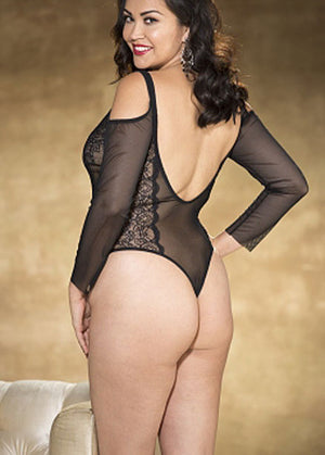 back of Plus size vintage black stretch mesh long sleeve teddy X31280