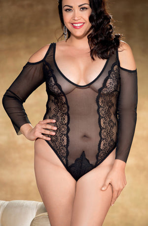 Plus size vintage black stretch lace and mesh long sleeve teddy X31280