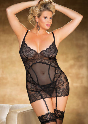 Plus size vintage black stretch lace and mesh gartered chemise X31281
