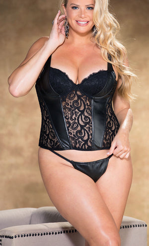 Plus size black faux leather and stretch lace corset X31329