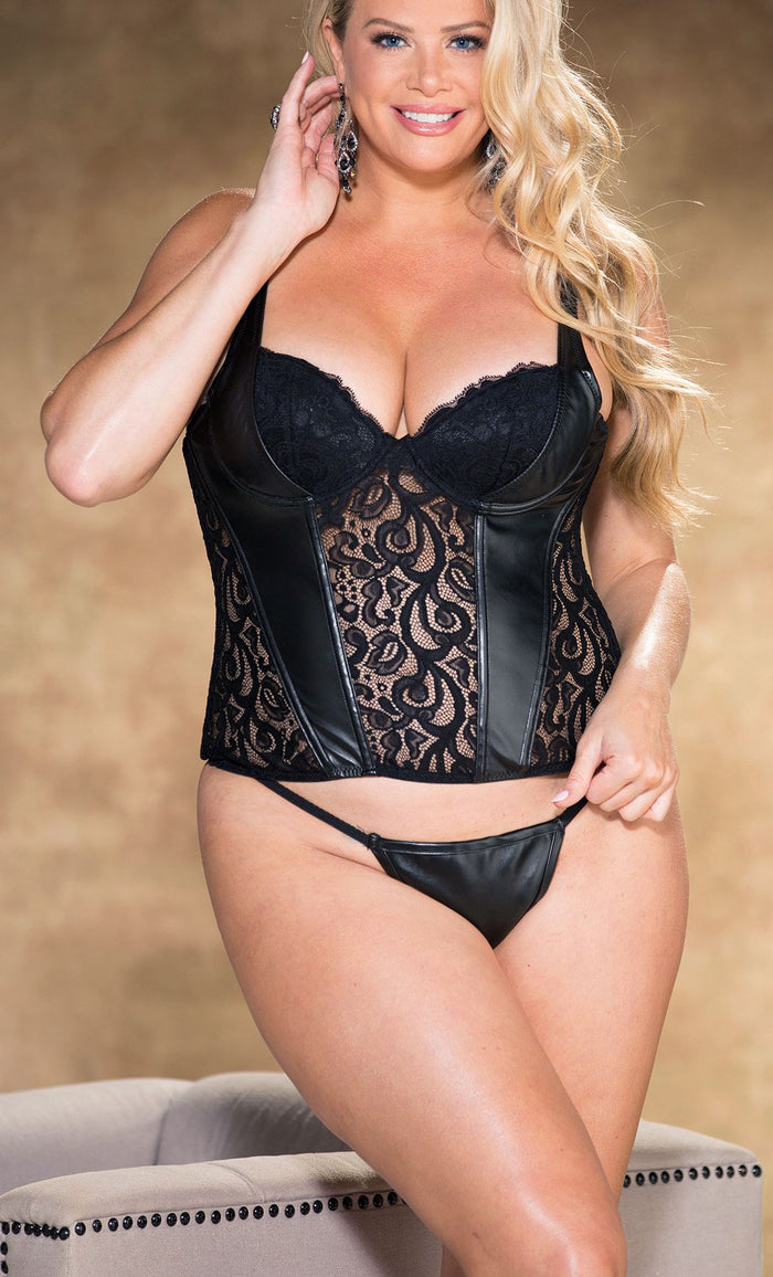 Plus Size Faux Leather and Lace Corset