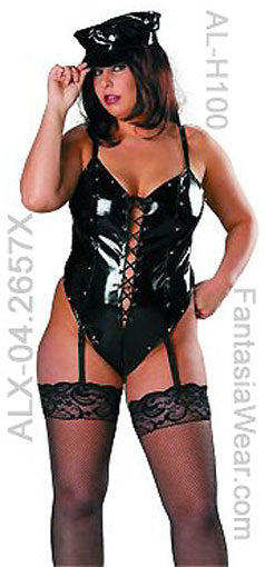Plus size vinyl teddy with lace-up front 4-2657X with hat and stockings