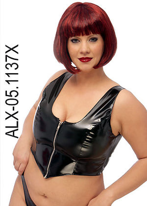 Plus size vinyl zip-up bustier 05-1137X