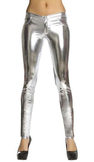 silver metallic foil button front pants with pocket detail 3175