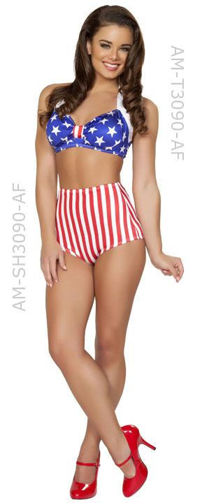 full view of American flag 1940's pin up costume