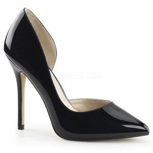 Open-sided black pump high heel shoe with 5-inch spike heel Amuse-22