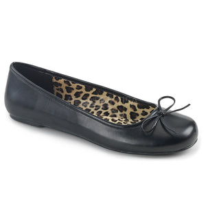 black faux leather classic adult ballet flat with bow accent Anna-01